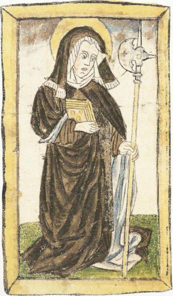 Den hellige Wiborada, tittelminiatyr fra Cimelia Sangallensia, ca 1430, den eldste tyskspråklige oversettelsen av helgenbiografier, Codex 586 i klosterbiblioteket i St. Gallen, s. 230